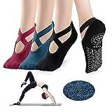 Yoga Socks for Women - Non Slip Grips with Straps, Ideal for Home & Indoor Yoga, Ballet, Pilates, Barre, Dance (Black+Blue+Red)