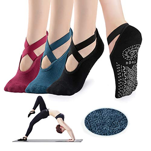 Yoga Socks for Women - Non Slip Grips with Straps, Ideal for Home & Indoor Yoga, Ballet, Pilates, Barre, Dance (Black+Blue+Red)