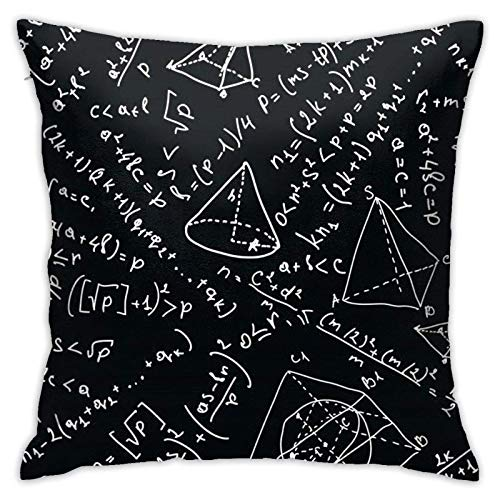 XCNGG Funda de almohadaMathematical Physics Formula Square Cotton Linen Throw Pillow Case with Zipper, Decorative Accent Pillow Cover for Car, Bedrooms and Sofa 18x18 Inch