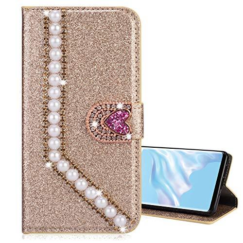Nadoli Galaxy A41 Leder Hülle,Bling Glitzer Diamant 3D Handyhülle im Brieftasche-Stil Perle Herz Flip Schutzhülle Etui für Samsung Galaxy A41,Gold