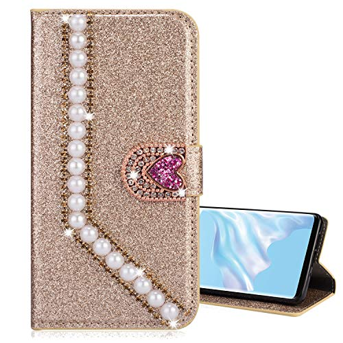 Nadoli Leder Hülle für Galaxy S20,Luxus Bling Glitzer Diamant 3D Handyhülle im Brieftasche-Stil Perle Herz Flip Schutzhülle Etui für Samsung Galaxy S20,Gold