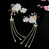 ChuXing 2 pcs Women Dragonfly Tassel Chinese Hair Accessory Alligator Hair Clips for Hanfu COS Hair Ornaments