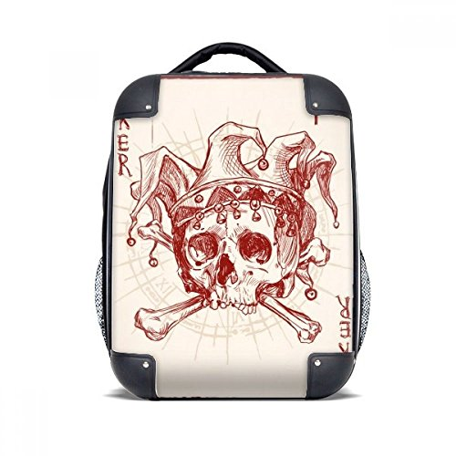 DIYthinker Patrón Joker Red Crown Card Poker Esqueleto del estuche rígido de transporte para hombro Niños Mochila 15' Regalo
