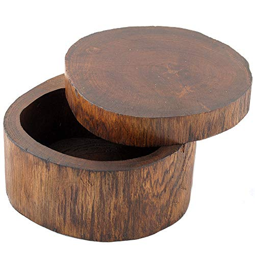 Gedeko Holzdose Holzschachtel mit Deckel rund oval Teakholz braun ca.12 cm