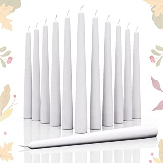 Candwax 10 inch Taper Candles Set of 12 - Dripless Taper Candles and Unscented Candlesticks - Long Burning Hand-Dipped Tap...