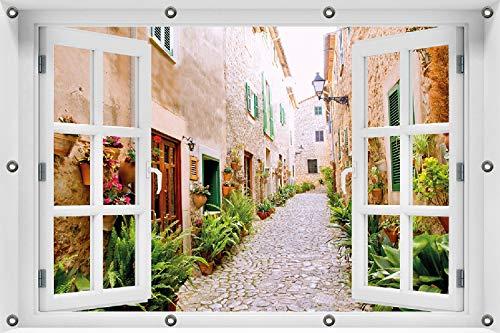 Wallario Garten-Poster Outdoor-Poster ca. 80 x 120 cm mit Fensterrahmen, Südländische Gasse mit Alten Häusern und grüner Oase in Premiumqualität, für den Außeneinsatz geeignet