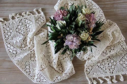 Coner witte macrame tafelloper geweven gehaakt kant staat doek dressoir sjaals keuken diner vakantie partijen bruiloft evenementen, 180 24cm