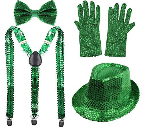 Carnavalife Juego 4 de Tirantes Elásticos Pajaritas Ajustables Guantes y Sombrero de Copa de Lentejuelas Brillantes para Adultos (Verde, Pack con Sombrero de Adulto/56cm)
