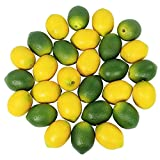 30 Pcs Fake Lemon Artificial Fruits Vivid Green and Yellow Lemon Mixed Set Lifelike Simulation Fruit for Home House Kitchen Party Decoration