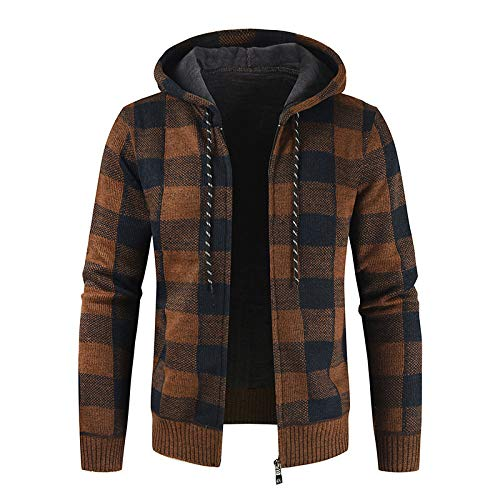 Herren Casual Zip Hoodies Langarm Tops Cardigan Hooded Sweatshirt Classic Plaid...