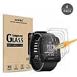AKWOX [4 Unidades] Protector de Pantalla para Garmin Forerunner 35 [9H Dureza] Cristal Vidrio Templado para Garmin Forerunner 35 GPS Running Watch Cristal Templado
