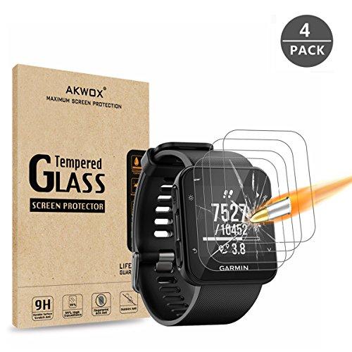 [4 Unidades] Protector de Pantalla para Garmin Forerunner 35 Akwox [9H Dureza] Cristal Vidrio Templado para Garmin Forerunner 35 GPS Running Watch Cristal Templado