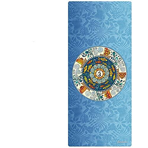 Estera de Yoga de Caucho Natural de Gamuza de 6 mm Ensanchada y Alargada, Adecuada para Yoga Caliente, Pilates, Meditación, Antidesgarro y Colchoneta de Ejercicio Ecológica