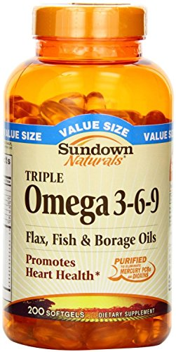 Sundown Naturals Triple Omega 3-6-9 Softgels, 200 ea (Pack of 3)