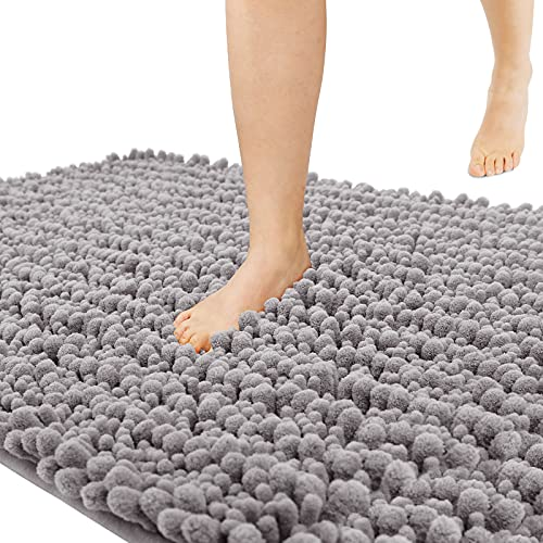 Yimobra Original Luxury Shaggy Bath Mat Large Size 31.5 X 19.8 Inches Super Absorbent Water, Non-Slip, Machine-Washable, Soft and Cozy, Thick Modern for Bathroom, Bedroom, Floor, Gray