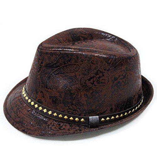 LOCOMO Paisley PU Leather Fedora Sh…