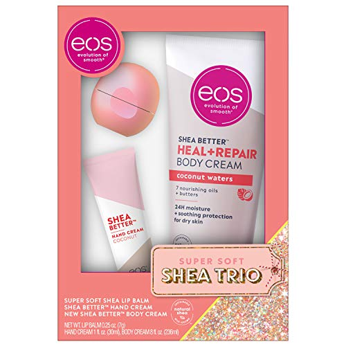 eos Lip Balm, Hand and Body Lotion - Champagne Pop and Coconut | Skin Care Gift Set | 24 Hour Hydration | Gluten Free | 3 Pack