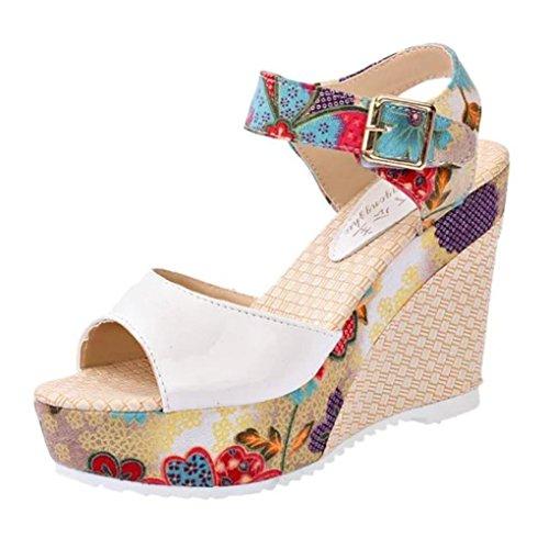 Zapatos de tacón Altas Plataforma para Mujer Otoño PAOLIAN Calzado de Cuña Dama Moda Calzado de Trabajo Fiesta con Hebilla Boda Sandalias de Vestir Boho Estampado Florales Zuecos