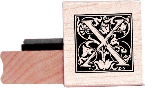 Tampon en caoutchouc alphabet - Lettre X à la William Morris