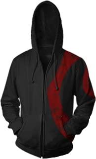 Mucloth Men's GoW Warrior Kratos Adult Zip up Cotton Hoodie Sweatshirt Cosplay Costume