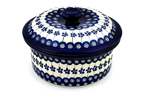 Polish Pottery Dish with Cover 8-inch Flowering Peacock