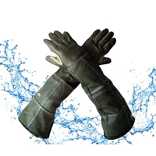 "YBB Waterproof Animal Handling Gloves, Leather Anti-Scratch/Bite Long Sleeve Protective Gloves Pet Bathing, Feeding, Training Gloves for Dog Cat Bird Snake Parrot (Palm Width 3.15"" for Women)"