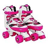 SportVida Patines infantiles ajustables en línea para niños y niñas, tallas 35-38, color rosa y blanco