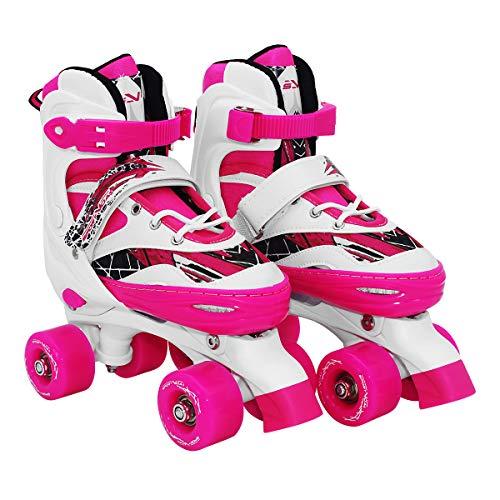 SportVida Rollschuhe Mädchen Verstellbar. Rollerskates Kinder Inline Skates & Rollschuhe Jungen Größen. (Pink White, 35-38)