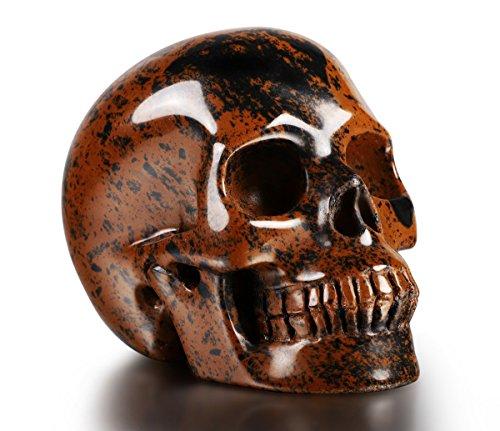 Skullis 2.0' Mahogany Obsidian Crystal Skull. Hand Carved Gemstone Fine Art Sculpture, Reiki Healing Stone Statue. (2.0)