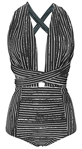 COCOSHIP Black Striped & White Balancing Act Retro One Piece V-Neck Swimsuit Bather High Waisted Criss Cross Swimwear Monokini XXL