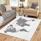 Pinbeam Area Rug Gray Black The Earth World Map on Antarctica Home Decor Floor Rug 3' x 5' Carpet
