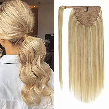 Lacer Balayage Ponytail Extension Clip in Ponytail Hair Extensions Remy Human Hair Wrap Around Ponytail Straight Bleach Blonde Highlight Ponytail Hairpiece Pony Tails Hair Extensions for Women 18 Inch