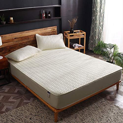 HPPSLT Protector de colchón de Rizo algodón y Transpirable Sábana a Prueba de Polvo Todo Incluido de algodón de una Sola Pieza, Rejilla pequeña Amarilla_100x200cm