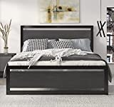 SHA CERLIN Full Size Bed Frame with Modern Wooden Headboard / Heavy Duty Platform Metal Bed Frame with Square Frame Footboard & 12 Strong Wood Slat Support / No Box Spring Needed,Black