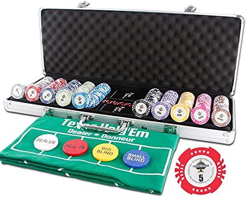 NYZXH Conjunto de Arcilla LJ, Juego de 14 Gramos, Blackjack, Juego de Casino con Estuche de Aluminio, Tarjetas, botón de Distribuidor, para Texas Hold 'Em, Jugando Juego Family Friends Fiesta