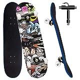 Skateboard per Principiante, 80x20 cm Skateboard Completo in Legno per Bambino Adolescenti Adulto, 7 Strati di Acero Doppio Kick Deck Concavo Trick Cruiser con lo strumento T Tutto in Uno (nero)