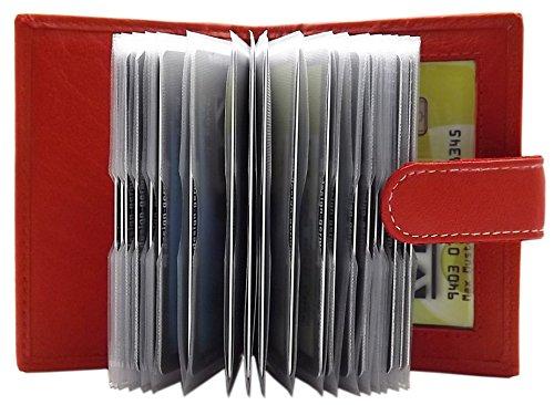 myledershop MJ-Design-Germany XXL Kreditkartenetui Büffelleder für 22 Scheckkarten in 3 Farben, Rot, One Size