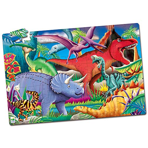 The Learning Journey Puzzle Doubles Glow in the Dark - Dinos - 100 Piece Glow in the Dark Preschool Puzzle (3 x 2 feet) - Educational Gifts for Boys & Girls Ages 3 and Up