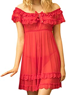 Women's Short Sleeve Lace Satin Vintage Pajamas Sexy Lingerie for Women for Sex