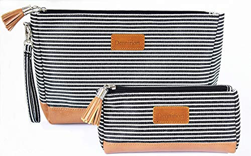 Large Travel Makeup Bag with Small Cosmetic Pouch for Purse, Makeup Clutch and Toiletries Organizer for Women (Black and White Stripe)