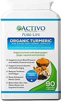 Turmeric Curcumin w/ Bioperine for Pain Relief & Joint Support, Cognitive Function, Anti-Aging - Anti-Inflammatory, Antioxidant Supplement Max Potency 95% Curcuminoids, Best Absorption - Made in UK! from Activo Nutrition