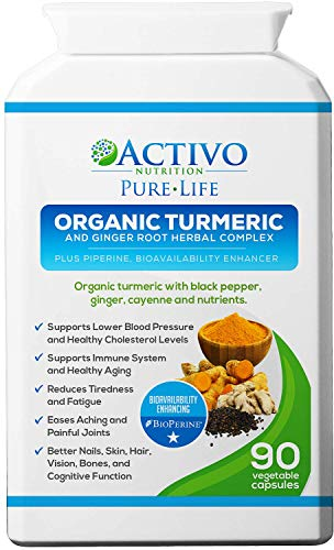Organic Turmeric Curcumin w/Black Pepper, Ginger and More, Max Potency 95% Curcuminoids, 90 Veggie Capsules for Best Absorption - Made in UK