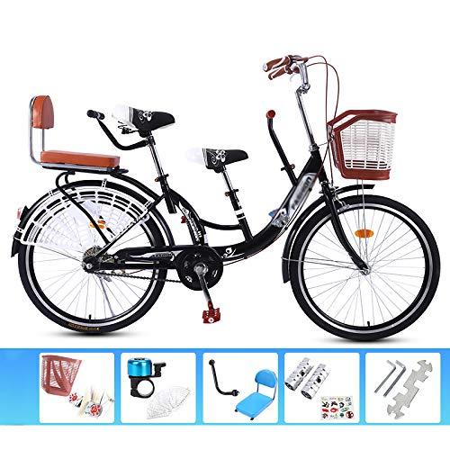 LYTLD Klappfahrrad, High-Carbon Stahl, Outdoor Sport Tandem-Fahrrad Anti-Skid-Reifen Eltern-Kinder-Fahrrad Geeignet für Familien Interactive Reiten