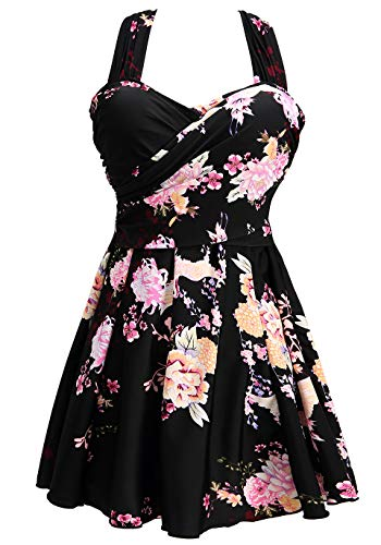 COCOPEAR Women's Elegant Crossover One Piece Swimdress Floral Skirted Swimsuit(FBA) Floral 37 2XL/14-16