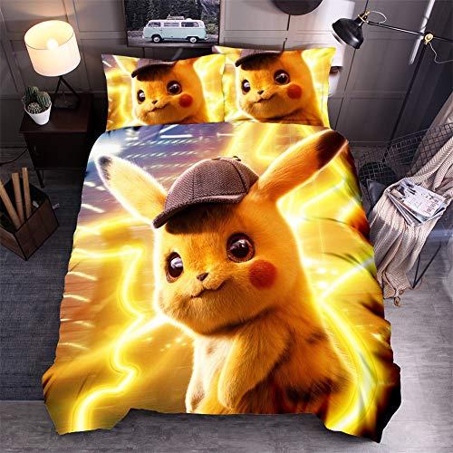 WFBZ Bettwäsche-Sets Pokemon Duvet Set Pikachu Bettwäsche Set Für Mädchen & Jungen (08,135 x 200 cm)