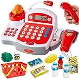 Buyger Grande Caja Registradora Juguetes con Electrónica Calculadora Escáner Micrófono Supermercado Alimentos Tienda de Juguetes Regalos Educativos