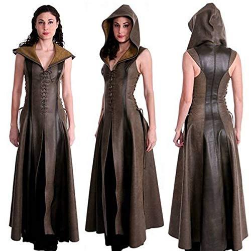 Huntfgold Kriegerin Kostüm Ärmellose Slim Fit Kunstleder Lange Kleid mit Kapuze
