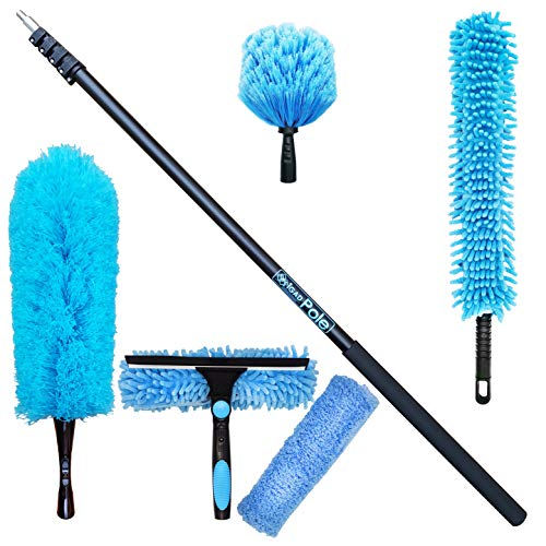 IGADPOLE Cleaning Kit with Extension Pole // Includes 3 Dusting Attachments + 1 Window Squeegee & Scrubber // Cobweb Duster // Microfiber Duster // Ceiling Fan Duster & Cleaner (24 foot(7.2m) Pole)