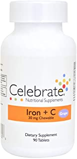 Celebrate Iron + C 30 mg chewable - Grape - 90 count