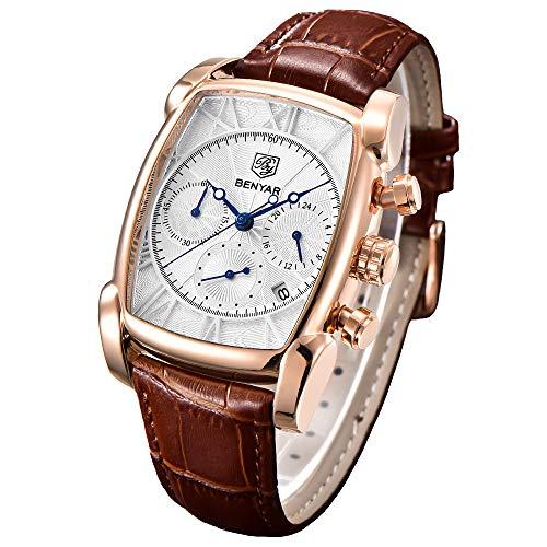 Orologio cronografo da uomo classico quadrato per uomo Orologio da polso rettangolare impermeabile con cinturino in pelle marrone e cassa in oro